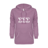 ENZA Ladies Hot Violet V Notch Raw Edge Fleece Hoodie-Greek Letters - One Color