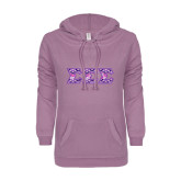ENZA Ladies Hot Violet V Notch Raw Edge Fleece Hoodie-Greek Style Letters - Tri Sigma Pattern