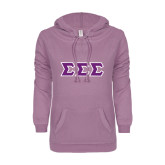 ENZA Ladies Hot Violet V Notch Raw Edge Fleece Hoodie-Greek Style Letters