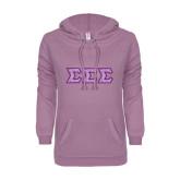 ENZA Ladies Hot Violet V Notch Raw Edge Fleece Hoodie-Greek Style Letters - Lace