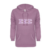 ENZA Ladies Hot Violet V Notch Raw Edge Fleece Hoodie-Greek Style Letters - Lace