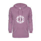 ENZA Ladies Hot Violet V Notch Raw Edge Fleece Hoodie-Monogram in Circle
