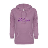 ENZA Ladies Hot Violet V Notch Raw Edge Fleece Hoodie-Fancy Script Tri Sigma