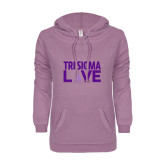 ENZA Ladies Hot Violet V Notch Raw Edge Fleece Hoodie-Tri Sigma Love