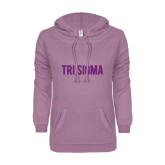 ENZA Ladies Hot Violet V Notch Raw Edge Fleece Hoodie-Tri Sigma Flat