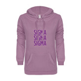 ENZA Ladies Hot Violet V Notch Raw Edge Fleece Hoodie-Sigma Sigma Sigma Stacked