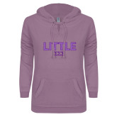 ENZA Ladies Hot Violet V Notch Raw Edge Fleece Hoodie-Block Letters w/ Pattern Little