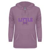 ENZA Ladies Hot Violet V Notch Raw Edge Fleece Hoodie-Block Letters w/ Pattern Little