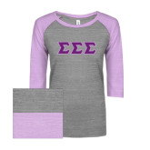 ENZA Ladies Athletic Heather/Violet Vintage Baseball Tee-Greek Style Letters