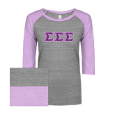 ENZA Ladies Athletic Heather/Violet Vintage Baseball Tee-Greek Style Letters - Lace