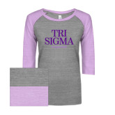 ENZA Ladies Athletic Heather/Violet Vintage Baseball Tee-Tri Sigma Empowered