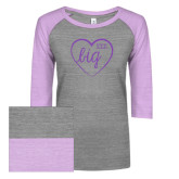 ENZA Ladies Athletic Heather/Violet Vintage Baseball Tee-Big in Heart
