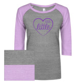 ENZA Ladies Athletic Heather/Violet Vintage Baseball Tee-Little in Heart
