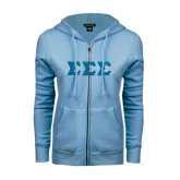ENZA Ladies Light Blue Fleece Full Zip Hoodie-Glitter Greek Style Letters