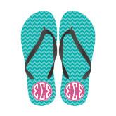 Ladies Full Color Flip Flops-Seaglass Chevron Pattern