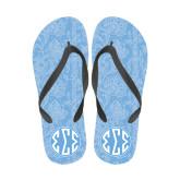 Ladies Full Color Flip Flops-Blue Lace Pattern