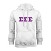 White Fleece Hoodie-Greek Style Letters