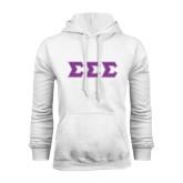 White Fleece Hoodie-Greek Style Letters - Polka Dot