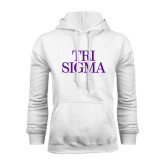 White Fleece Hoodie-Tri Sigma Stacked - Official