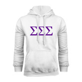 White Fleece Hoodie-Greek Letters - One Color