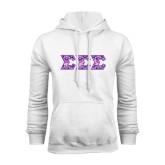 White Fleece Hoodie-Greek Style Letters - Tri Sigma Pattern