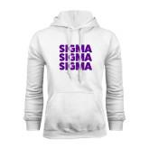 White Fleece Hoodie-Stacked Sigma Sigma Sigma