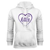 White Fleece Hoodie-Little in Heart