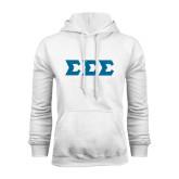White Fleece Hoodie-Glitter Greek Style Letters