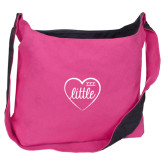 Cotton Canvas Tropical Pink/Charcoal Sling Bag-Little in Heart