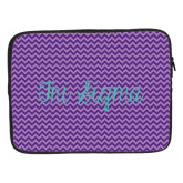 15 inch Neoprene Laptop Sleeve-Purple Chevron Pattern