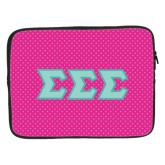 15 inch Neoprene Laptop Sleeve-Pink Dot Pattern