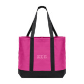 Tropical Pink/Charcoal Day Tote-Glitter Greek Style Letters