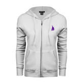 ENZA Ladies White Fleece Full Zip Hoodie-Sailboat
