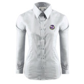 Ladies Red House White Long Sleeve Shirt-Crest