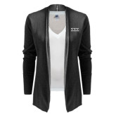 Ladies Black Open Front Cardigan-Greek Letters - One Color
