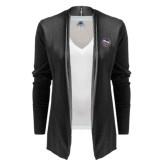 Ladies Black Open Front Cardigan-Crest
