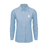 Ladies Light Blue Oxford Shirt-Sailboat