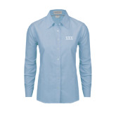 Ladies Light Blue Oxford Shirt-Greek Letters - One Color