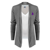 Ladies Heather Grey Open Front Cardigan-Sailboat