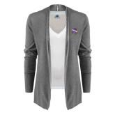 Ladies Heather Grey Open Front Cardigan-Crest