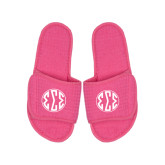 Hot Pink Waffle Slippers-Monogram in Circle