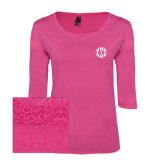 Ladies Dark Fuchsia Heather Tri Blend Lace 3/4 Sleeve Tee-Monogram in Circle