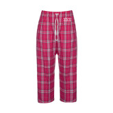 Ladies Dark Fuchsia/White Flannel Pajama Pant-Greek Letters - One Color