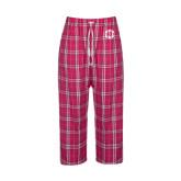 Ladies Dark Fuchsia/White Flannel Pajama Pant-Monogram in Circle