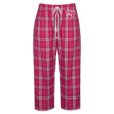 Ladies Dark Fuchsia/White Flannel Pajama Pant-Big in Heart
