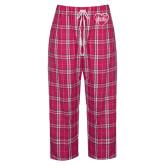 Ladies Dark Fuchsia/White Flannel Pajama Pant-Little in Heart