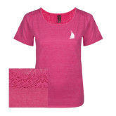 Ladies Dark Fuchsia Heather Tri-Blend Lace Tee-Sailboat