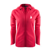 Ladies Tech Fleece Full Zip Hot Pink Hooded Jacket-Sailboat