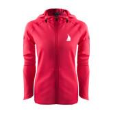 Ladies Tech Fleece Full Zip Hot Pink Hooded Jacket-Sailboat