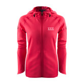 Ladies Tech Fleece Full Zip Hot Pink Hooded Jacket-Greek Letters - One Color